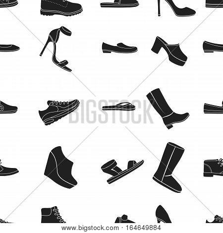 Shoes pattern icons in black style. Big collection of shoes vector symbol stock