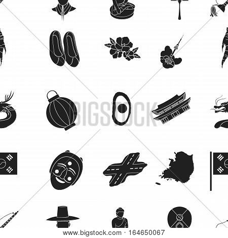 South Korea pattern icons in black style. Big collection of South Korea vector symbol stock