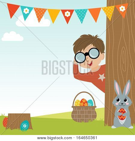Easter Egg Hunt background with Boy, Easter rabbit and copy space.