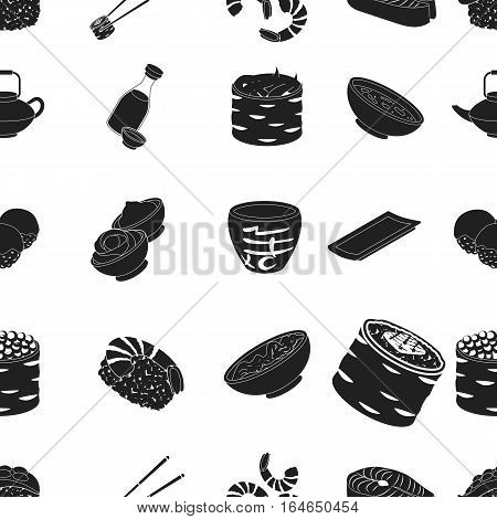 Sushi pattern icons in black style. Big collection of sushi vector symbol stock