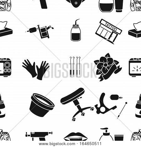Tattoo studio pattern icons in black style. Big collection of tattoo studio vector symbol stock