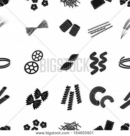 Types of pasta pattern icons in black design. Big collection of types of pasta vector symbol stock illustration