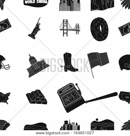 USA country pattern icons in black design. Big collection of USA country vector symbol stock illustration