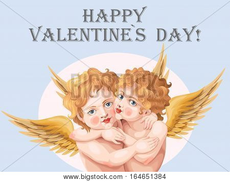 Vintage valentines day card with two embracing baby angels