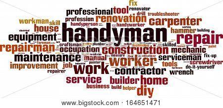 Handyman word cloud concept. Vector illustration on white