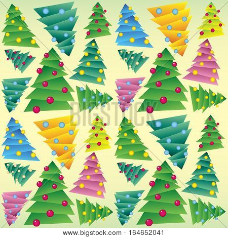 Christmas tree, wrapping, seamless tracery. New Year wrapper. Vector illustration