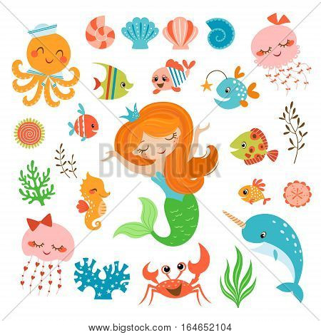 Set of cute underwater design elements with mermaid isolated on white background.