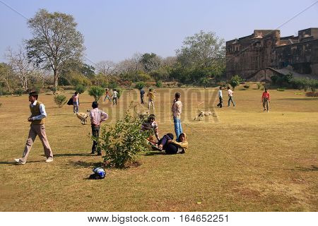 Ranthambore, India - February 2: Unidentified Boys Play In A Field At Ranthambore Fort On February 2