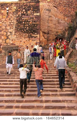 Ranthambore, India - February 2: Unidentified People Walk To Ranthambore Fort On February 2, 2011 In