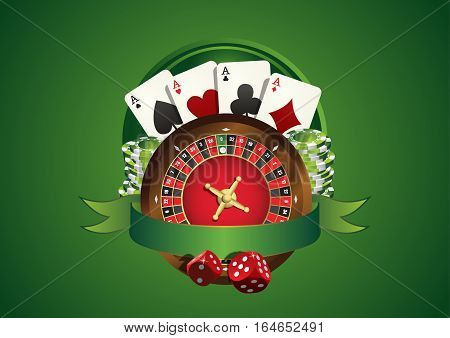 Vector casino logo. Includes roulette casino chips playing cards and blank green ribbon allowing to add text