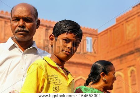 Agra, India - November 7: Unidentified People Stand In Jahangiri Mahal In Agra Fort On November 7, 2