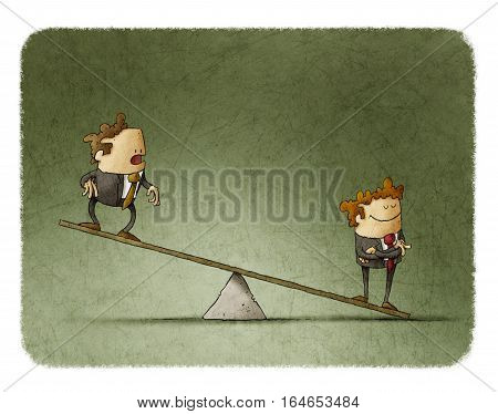 illustration of business corporate inequality concept with businessmen on a scale