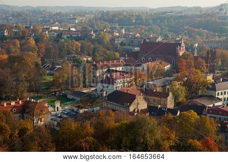 Vilnius Lithuania - October 12 2014: Cityscape of Vilnius old town in the autumn view from Gediminas Tower in Vilnius Lithuania.