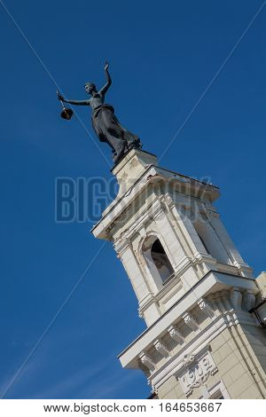 Statue Of Electricity On Top Of The Energy And Technology Museum In Vilnius