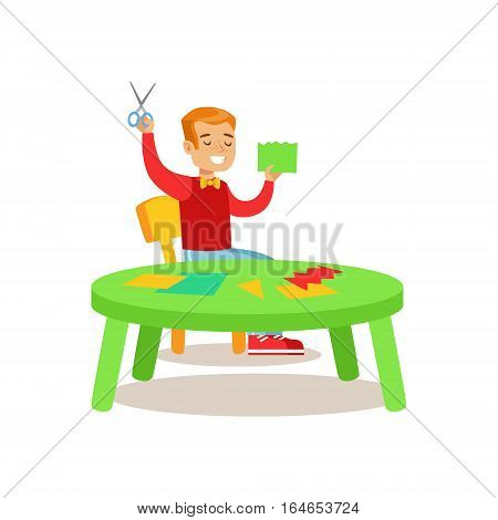 Boy Doing Applique, Creative Child Practicing Arts In Art Class, Kids And Creativity Themed Illustration. Flat Cartoon Vector Character Demonstrating Creative Skills And Talents.
