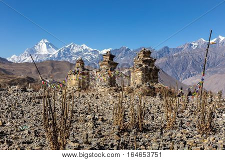 Buddhist chorten above Muktinath village Dhaulagiri rising in the babkground.