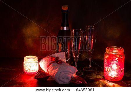 Romantic Valentine day vine candle spa setting romantic date