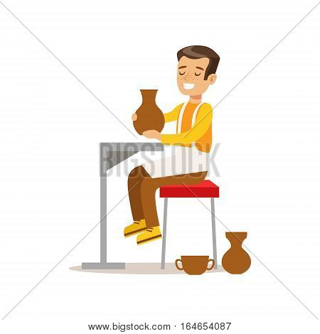 Boy Doing Pottery, Creative Child Practicing Arts In Art Class, Kids And Creativity Themed Illustration. Flat Cartoon Vector Character Demonstrating Creative Skills And Talents.