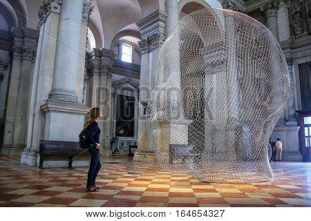 Venice, Italy - June 22: Sculptural Installation By Jaume Plensa During Venice Art Biennale Inside S