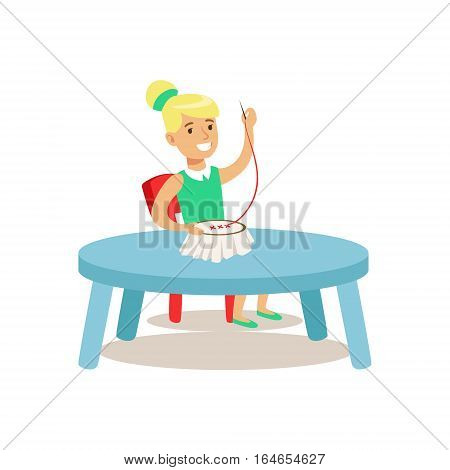 Girl Doing Needlework, Creative Child Practicing Arts In Art Class, Kids And Creativity Themed Illustration. Flat Cartoon Vector Character Demonstrating Creative Skills And Talents.