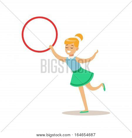 Girl With Hula-Hoop, Creative Child Practicing Arts In Art Class, Kids And Creativity Themed Illustration. Flat Cartoon Vector Character Demonstrating Creative Skills And Talents.