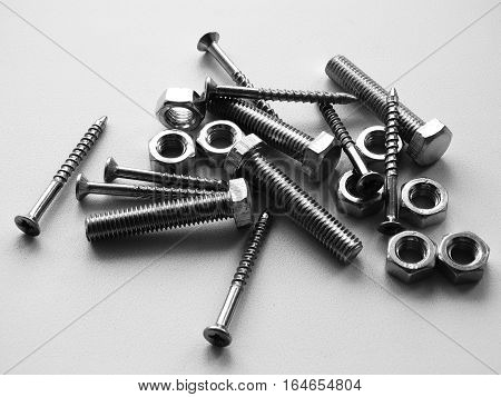 Tools for mounting repairs set screw thread material metal monochrome