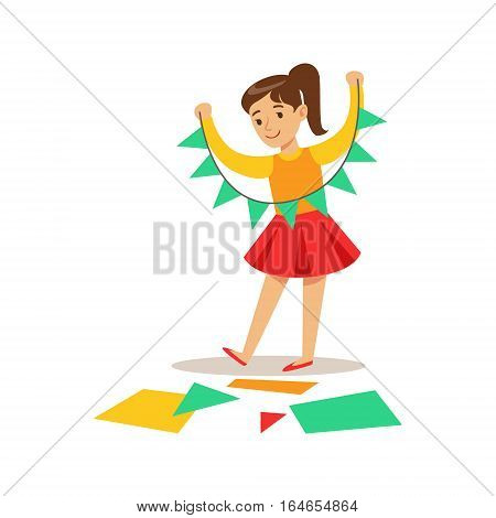 Girl Doing Paper Garland, Creative Child Practicing Arts In Art Class, Kids And Creativity Themed Illustration. Flat Cartoon Vector Character Demonstrating Creative Skills And Talents.