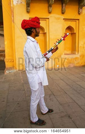 Amber, India - November 13: Unidentified Man Plays Ravanahatha In Jaleb Chowk In Amber Fort On Novem