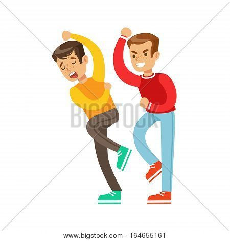 Two Boys Fist Fight Positions, Aggressive Bully In Long Sleeve Red Top Fighting Another Kid Who Is Weaker But Is Fighting Back. Flat Vector Teenage Aggression And Conflict Resulting In Street Fight Illustration.