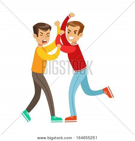 Two Boys Fist Fight Positions, Aggressive Bully In Long Sleeve Red Top Fighting Another Kid. Flat Vector Teenage Aggression And Conflict Resulting In Street Fight Illustration.