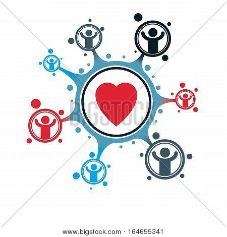 Social Relations Conceptual Logo, Unique Vector Symbol. Society And Person, Social Interaction.