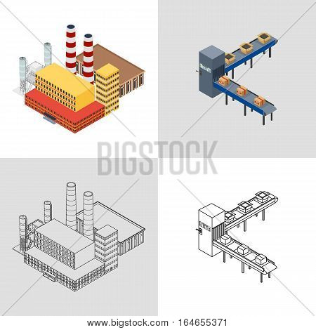 vector illustration. Factory building with an office building and production plant and automatic packaging conveyor line with boxes. Set icon colorful and outline. Isometric 3D.