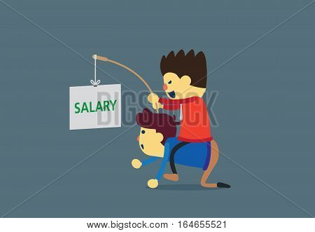 Businessman motivation employee to work with salary. Business concept.
