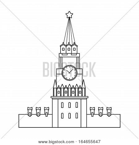 Kremlin icon in outline design isolated on white background. Russian country symbol stock vector illustration.
