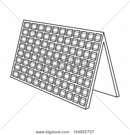 Solar panel icon in outline design isolated on white background. Bio and ecology symbol stock vector illustration.