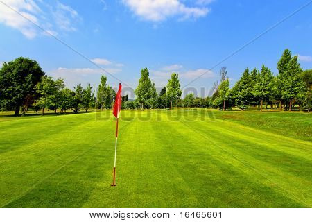 Beautiful golf course and blue sky