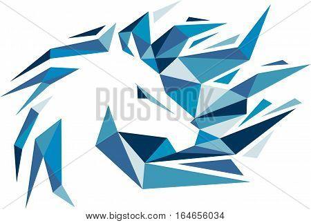 logo illustration blue animal horse digital virtual