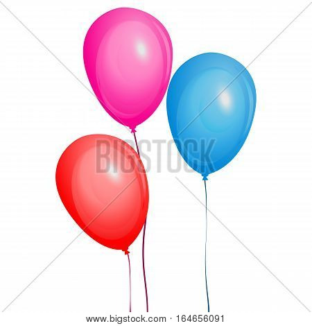 Color glossy balloons set. Graphic illustration multicolored balloon isolated on white