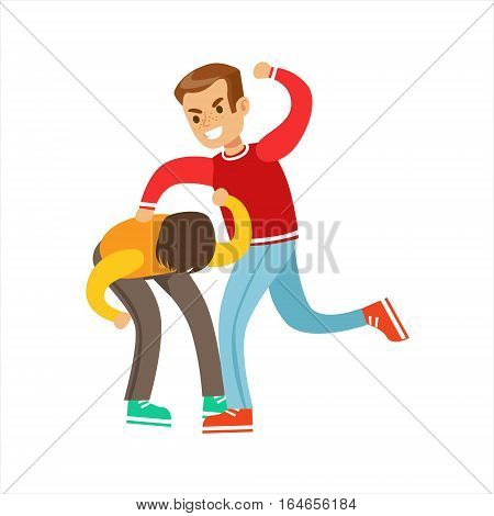 Two Boys Fist Fight Positions, Aggressive Bully In Long Sleeve Red Top Fighting Another Kid Hitting Him In Back. Flat Vector Teenage Aggression And Conflict Resulting In Street Fight Illustration.