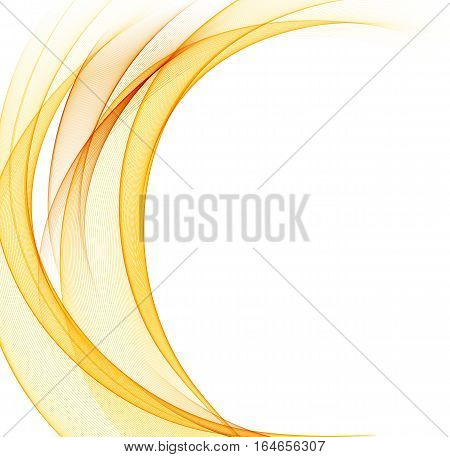 Abstract orange color wave design element. Vector lines.
