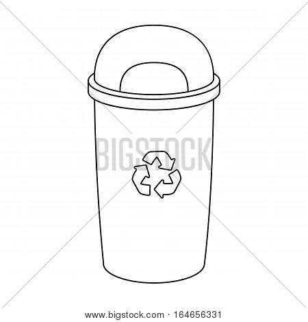 Recycle garbage can icon in outline design isolated on white background. Bio and ecology symbol stock vector illustration.