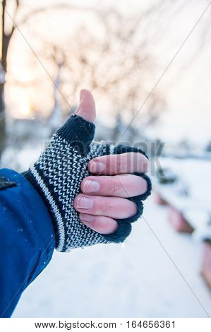 Male Hand Showing Thumbs Up In Winter Gloves