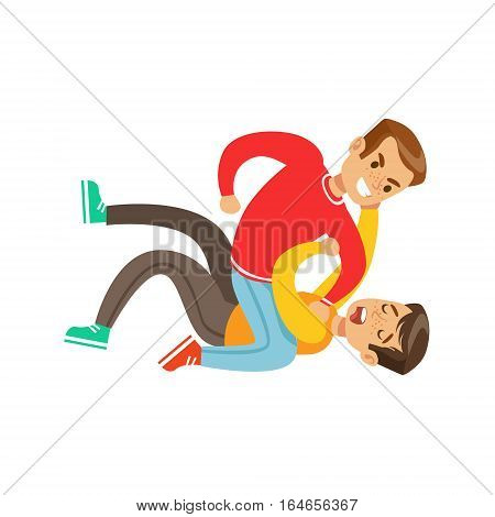 Two Boys Fist Fight Positions, Aggressive Bully In Long Sleeve Red Top Fighting Another Kid Pushing Him To The Ground. Flat Vector Teenage Aggression And Conflict Resulting In Street Fight Illustration.