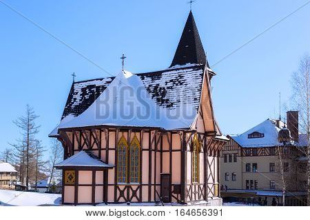 Church of the Immaculate Conception in Stary Smokovec (Slovakia High Tatras mountains). Is built in the alpine half-timbered neo-gothic style. The church was designed by the Gideon Majunke in 1888.