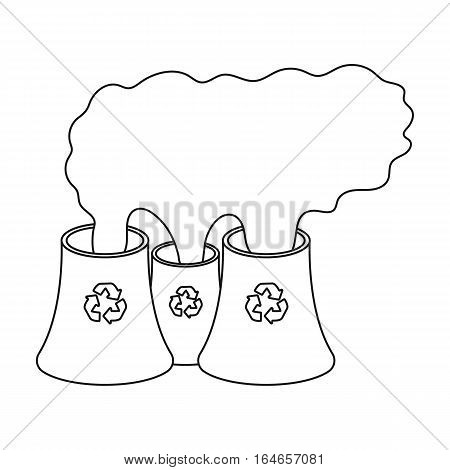 Recycling plant icon in outline design isolated on white background. Bio and ecology symbol stock vector illustration.