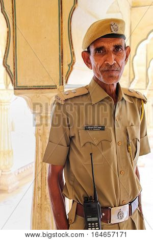 Amber, India - November 13: Unidentified Man Stands In Sattais Katcheri Hall In Amber Fort On Novemb