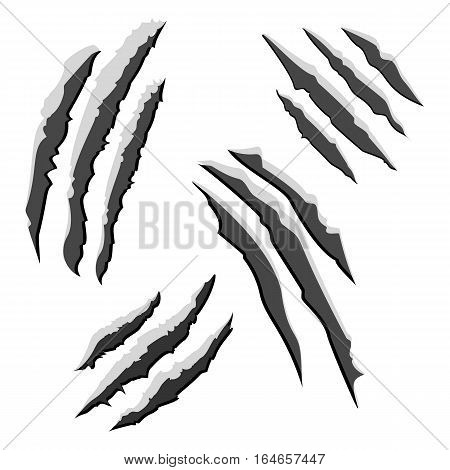 Set of black claw scratches isolated on white background. Graphic illustration