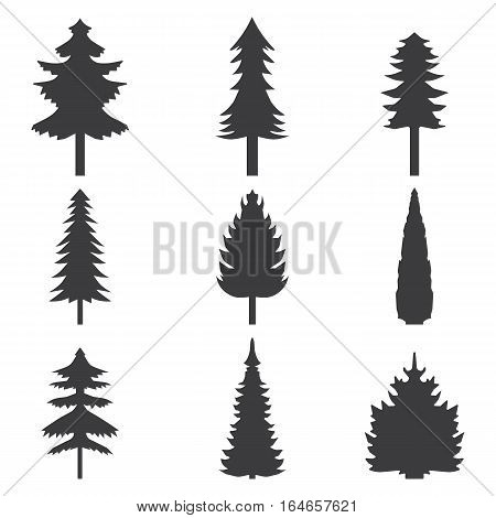 Set of abstract stylized balack trees silhouette. Graphic illustration.