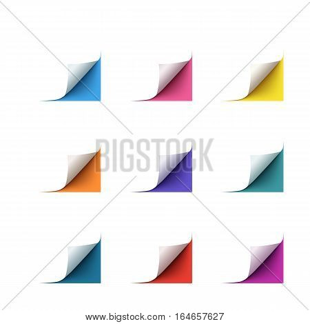 Set of realistic vector colorful paper corners isolated on white background. Curl white paper corner for flyer, brochure, website.