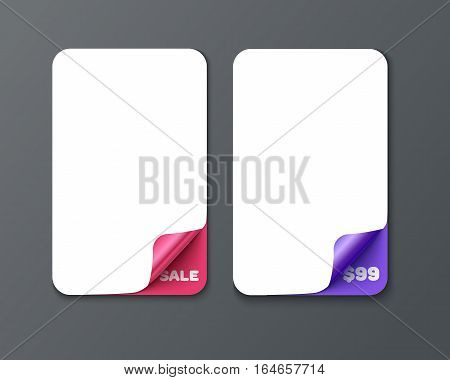 Set of vertical banner template with curl corners. Realistic vector paper with curved corner. Paper temolate for print and web banner, flyer for sale and promo advertising text message